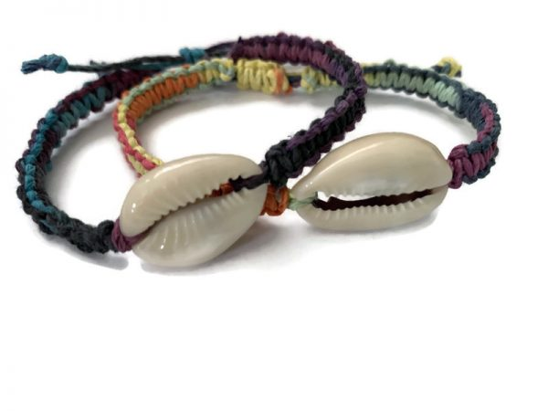 Colorful adjustable Cowrie Hemp Bracelets